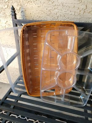Longaberger serving tray with two plastic protectors for Sale in Phoenix, AZ