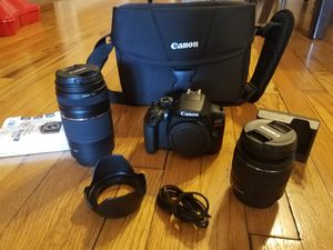 Canon Rebtel T6 + 2 lenses + bag and extra... for Sale in Chicago, IL