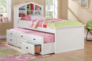 NEW WHITE PINK ACCENT BOOKCASE HEADBOARD TWIN SIZE MATTRESS DRAWERS TRUNDLE for Sale in Chula Vista, CA