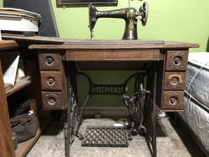 Singer Treadle Lotus antique vintage sewing machine cast iron legs for Sale in Riverside, CA