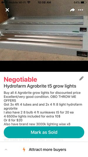 Hydro farm agrobite t5 lights for Sale in Colorado Springs, CO