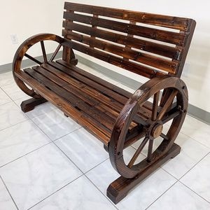 "(NEW) $130 Large 50"" Wooden Wagon Bench Rustic Wheel for Patio Garden Outdoor 50x23x34"" for Sale in Pico Rivera, CA"
