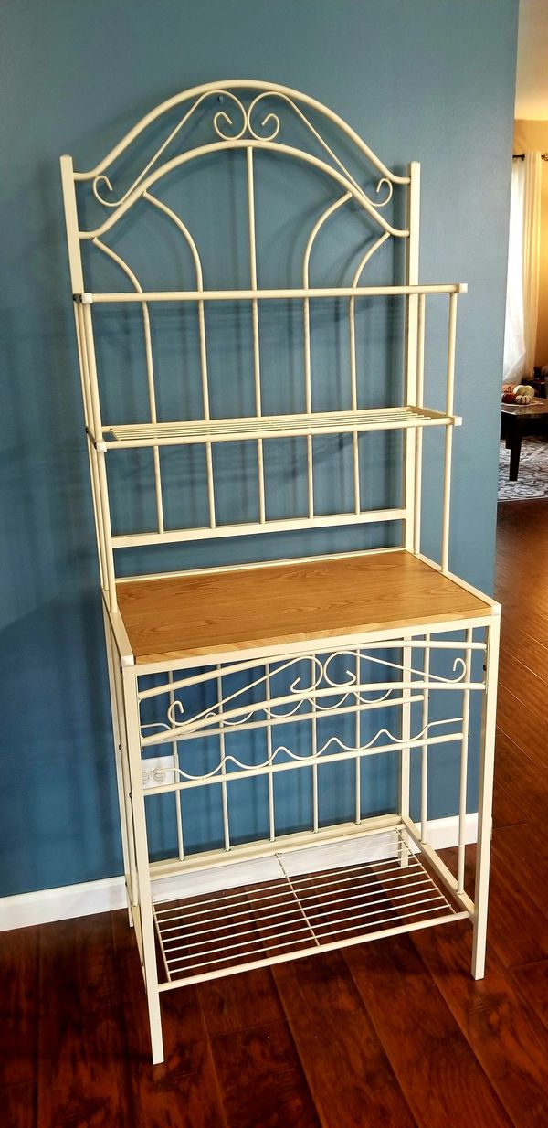 Bakers Rack WITH WINE RACK, Iron and wood Kitchen Rack, Microwave Table, Rustic Kitchen & Dining