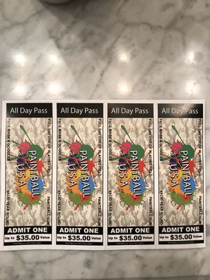 4 Paintball USA tickets all day open play for Sale in Henrico, VA