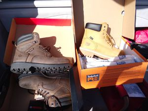 Two pair of boots. 7 1/2. Each. One timberland. The other wolverine. These boots are brand new in box never used. $ 100.00 for both for Sale in Bayonne, NJ