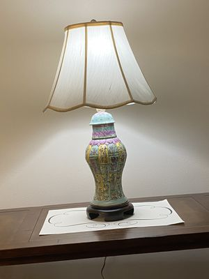 Hand painted vintage jar floral table lamp with solid wood base and with shade no chips for Sale in Chicago, IL