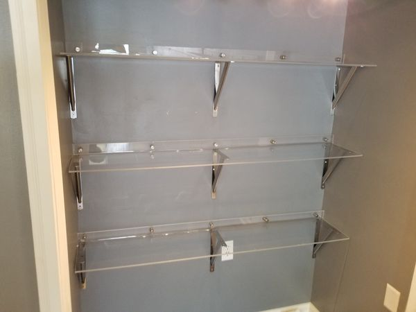 Frosted and Clear Custom Acrylic Shelves retail