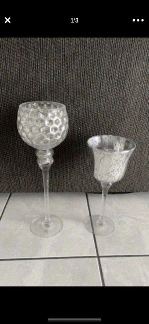 Tall Mercury Glass candle holders set of 2 take both for Sale in Colton, CA