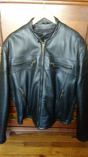 Dark brown almost black leather motorcycle jacket for Sale in New Windsor, MD