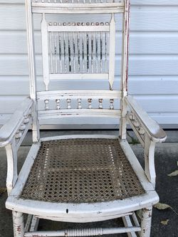 Vintage Victorian Shabby Chic Distressed White Wood Rattan Seat Rocking Chair for Sale in Altadena,  CA