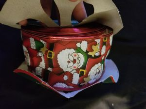 "2.5"" Wired Santa Ribbon for Bows Wreaths, 3/4 of a 55 Yd Roll Left for Sale in Chesapeake, VA"
