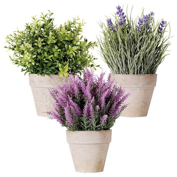 Mini Potted Artificial Money Leaf Plants Set of 3 Lavender Cedar Bud Greenery in Pots Fake Flowers Faux Herbs Small Houseplants Plastic Plant for Home