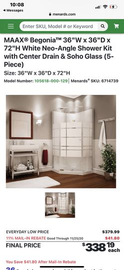 Shower doors base walls neo angle corner for Sale in Andover,  MA