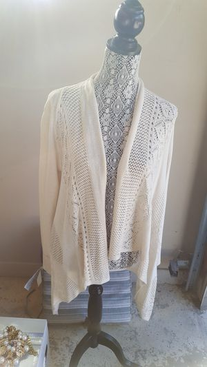 Ladies ivory lacy cardigan for Sale in Taylor, MI