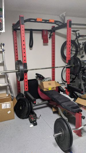 ETHOS Squat Rack Cage ROGUE Bumper Plates Barbell for Sale in Davenport, FL