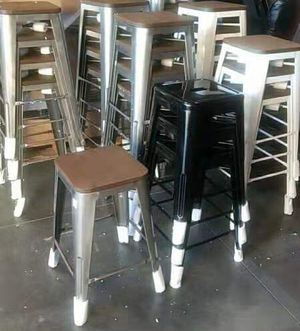 New in box $20 each 16x16x30 inches tall indoor outdoor stackable modern metal counter height industrial barstool bar chair wooden top bronze or whit for Sale in Whittier, CA