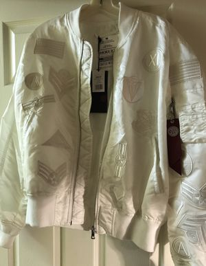 New white Smoke Rise bomber jacket, lots of details for Sale in Colesville, MD