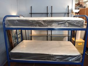 Blue metal bunk bed with new twin mattresses for Sale in Tampa, FL