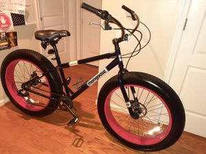 Mongoose Men's Dolomite Fat Tire Bike 26 inch 7 speed Supersized 26 inch X 4 inch all terrain knobby tires. excellent/great condition for Sale in Virginia Beach, VA