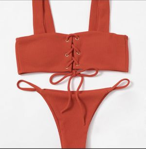 Red Ribbed cheeky bikini size 2/4 for Sale in Anaheim, CA