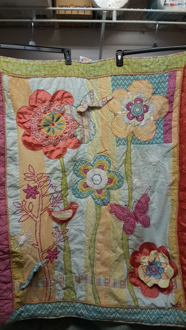 35 x 43 child's quilt with tree, Birds, flower and butterfly design