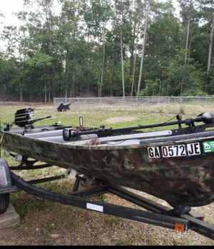 14 foot jon boat with trailer, Edge Freshwater Hand-Control Bow-Mount Trolling Motor, Mercury 110 thunderbolt 9.8 outboard motor for Sale in Marietta, GA