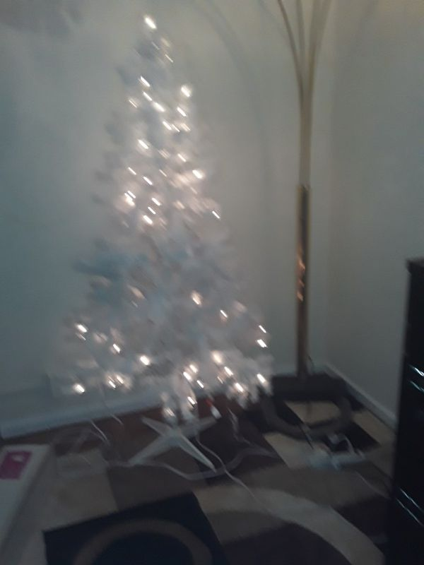 White artificial Christmas tree