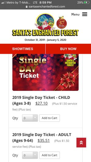 4 tickets to Santa's Enchanted Forest for Sale in Pembroke Pines, FL