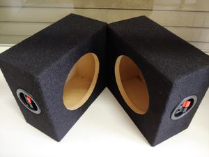 Speaker box : 6.5 inch speaker mini square box (USA MDF) wood pair new w8-h7-d4 for Sale in Bell Gardens, CA