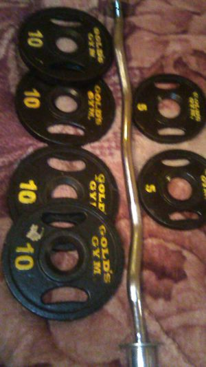 "Ez curl barbell with gold gym 2"" hole plates for Sale in Boston, MA"