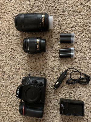 Nikon D7200, two lenses, batteries and charger, camera bag and memory card for Sale in Alpharetta, GA