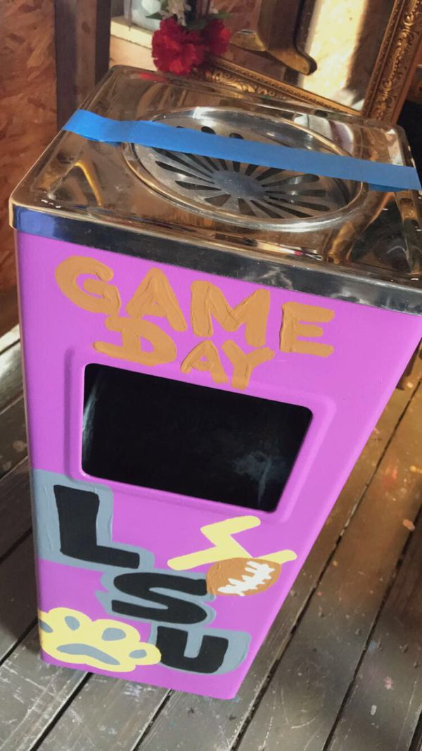 LSU game day pride custom ashtray/ trash container