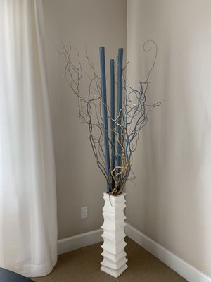 White floor vase from z Gallerie with 3 bamboo sticks from Z Gallerie for Sale in Oregon City, OR