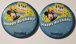 "(2)disneyland 3"" Happy Birthday Button Pin Disney for Sale in Auburn, WA"
