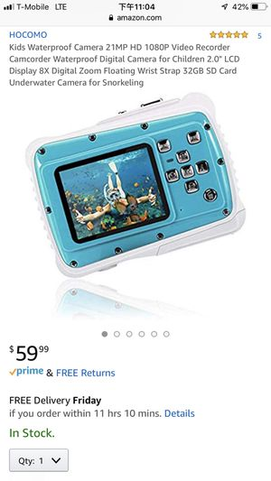 """Kids Waterproof Camera 21MP HD 1080P Video Recorder Camcorder Waterproof Digital Camera for Children 2.0"""" LCD Display 8X Digital Zoom Floating Wrist for Sale in Albuquerque, NM"""