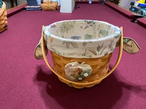 Longaberger basket W/ protector & fabric liner for Sale in San Dimas, CA