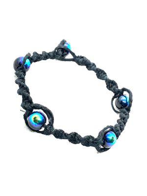Black Iridescent Glass Beads on Twisted Black Hemp Bracelet or Anklet for Sale in Denver, CO
