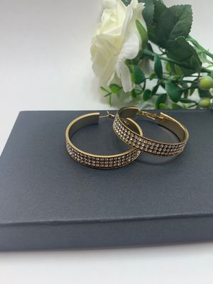 Large Round Circle Bling Hoop Rhinestone Earrings, Gold Color for Sale in Tustin, CA