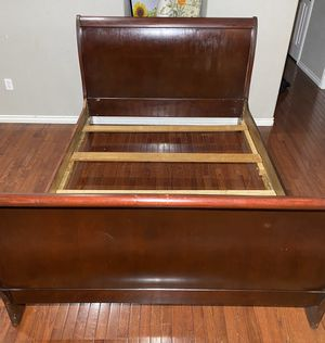 Burgundy Solid & Pressed Wood Queen Sleigh Bed Frame & 4 Slats for Sale in West Linn, OR