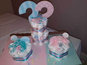Diaper cake gender reveal for Sale in Fort Lauderdale, FL