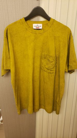 Supreme x Stone Island Embroidered pocket tee olive/yellowish gold Size Large for Sale in Everett, WA