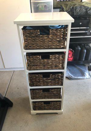 Tall White dresser / wicker baskets for Sale in Clovis, CA