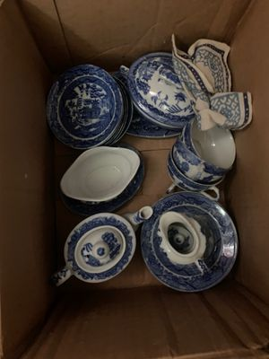 Antique English willow blue China set for Sale in Whitehall, OH