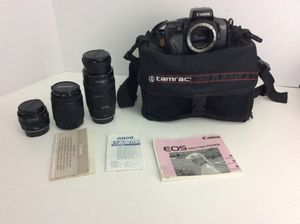 CANON Film Camera EOS 750 with 3 Lenses Bundle zoom lens Camera Bag for Sale in Genoa, IL