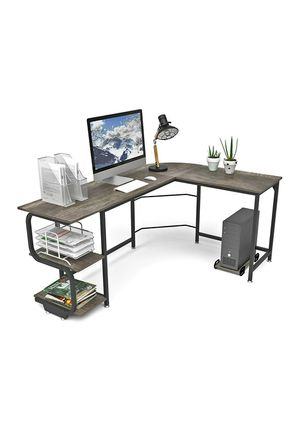 (B8) Teraves Reversible L Shaped Desk with Shelves Round Corner Computer Desk Gaming Table Workstation for Home Office for Sale in Industry, CA