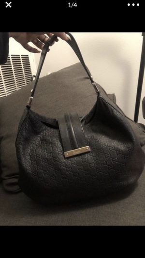 Gucci Large Black Leather GG Guccissima Handbag Monogram Shoulder Hobo Tote Bag for Sale in Las Vegas, NV