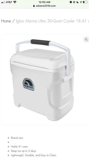 Igloo Marine Ultra 30-Quart Cooler 18.41 x 13.25 x 16.81 Inches White for Sale in Houston, TX