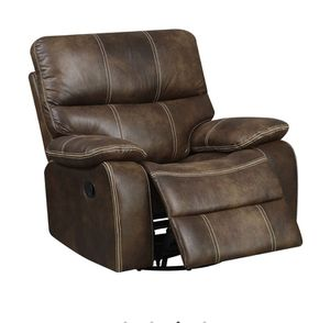 Jessie James Chocolate Brown Faux Leather Swivel Gliding Recliner for Sale in Sterling, VA