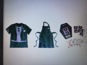 Set of 3 - Disney Halloween Haunted Mansion Cast Costume Tee Size Medium, Apron & Play Cards for Sale in Los Angeles, CA