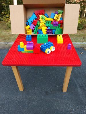 LEGO Table w/Box of Megablock LEGOS for Sale in Midlothian, VA